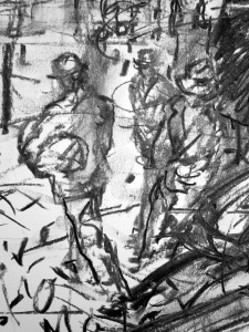 9. 'that one tall man, humping a suspicious parcel', FW p. 62, charcoal (detail)