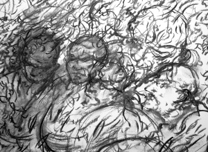 5.  '…though it winters on their heads as if auctumned round their waistbands.' FW pp.64.36 - 65.7 (detail), charcoal