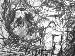 7.  'For dear old grumpapar, he's gone on the razzledar, through gazing and crazing and blazing at the stars.'FW p.65.7 - 24 (detail), charcoal
