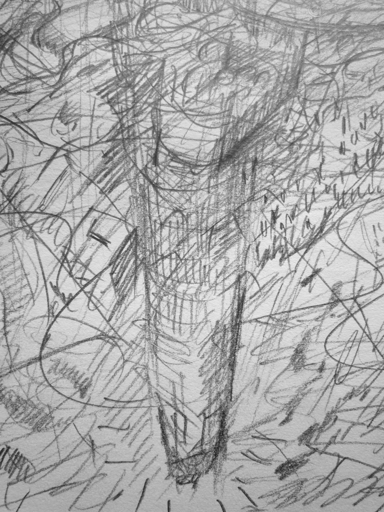 '…an inversion of a phallopharos, intended to foster wheat crops and to grinder up the tourist trade…' FW sketchbook p. 76 (detail)