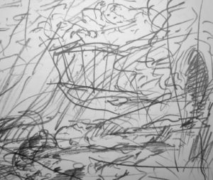 ' …sloughed off sidlehomed via the subterranean shored with bedboards, stowed away and ankered in a dutch bottom tunk the Arsa…'  FW p. 98 Sketchbook (detail)