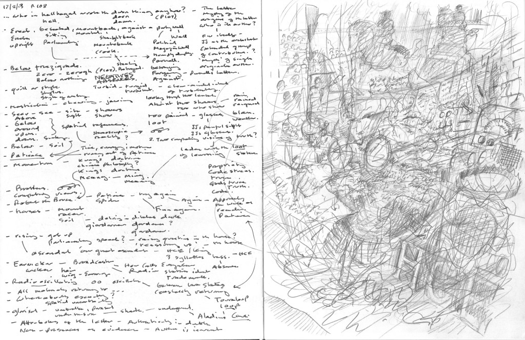 FW p.108,  text to picture annotation sketchbook page.