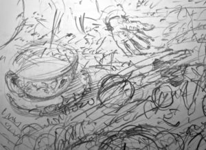 ' You have your cup of scalding Souchong, your taper's waxen drop…',FW p. 115 sketchbook (detail)