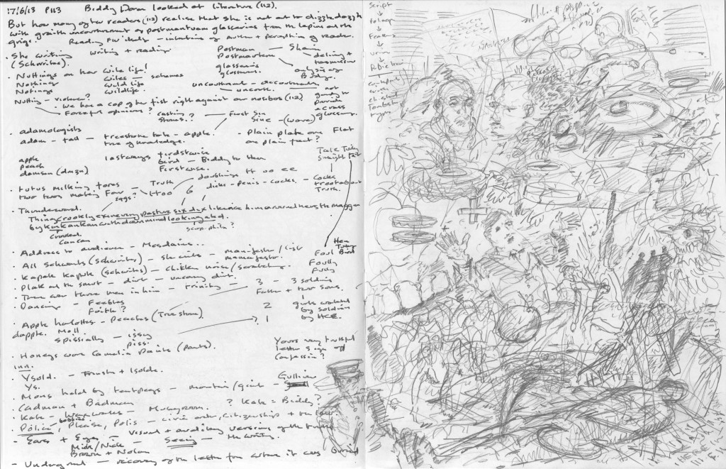 Finnegans Wake p.113 Text to image sketchbook notation