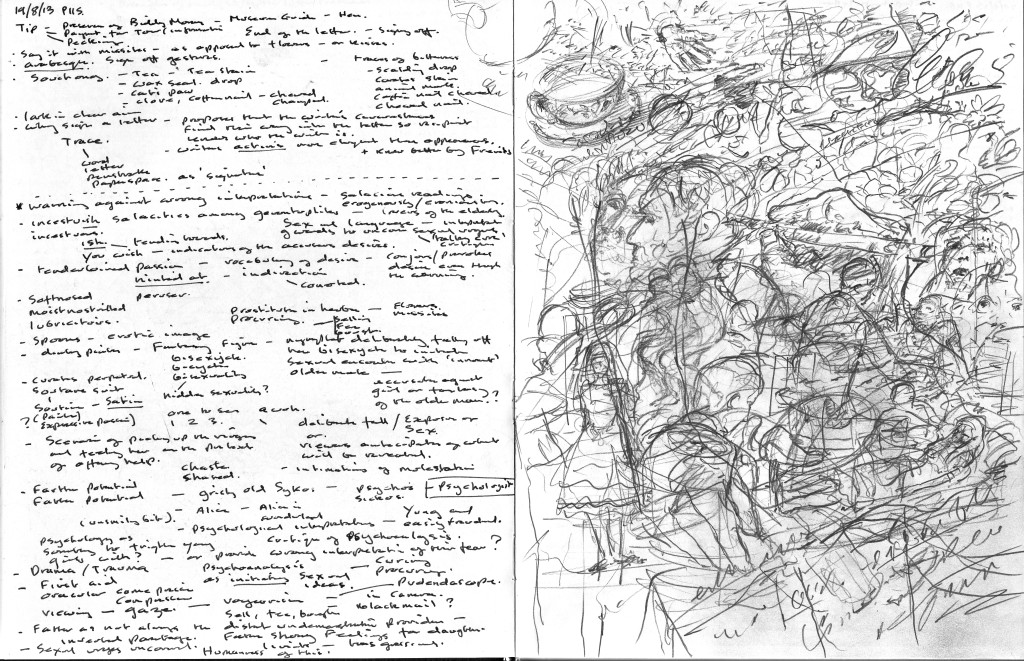 Finnegans Wake p.115 Text to image sketchbook notation