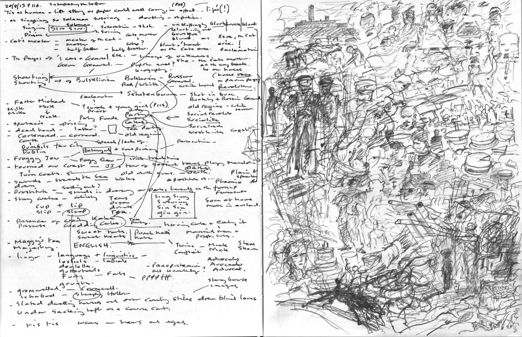 Finnegans Wake p.116 Text to image sketchbook notation