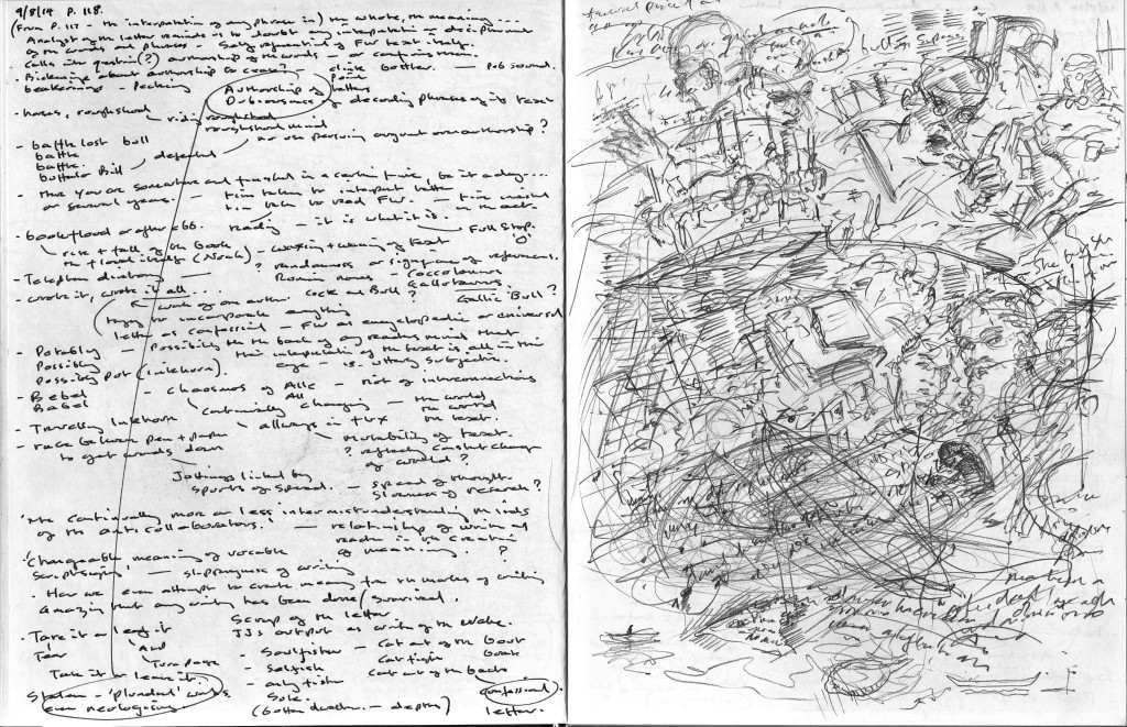 Finnegans Wake p.118 Text to image sketchbook notation