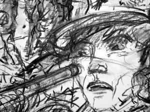 11. 'you're shot, major', p.62.32, charcoal (detail)