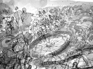 3. 'His beneficiaries are legion…Greatwheel Dunlop was the name on him', FW.p.58.1-15 ink and wash (detail 2.)