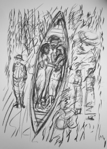 9.  ' …if they were all afloat in a dreamlifeboat...'FW p.65.23 - 33, charcoal