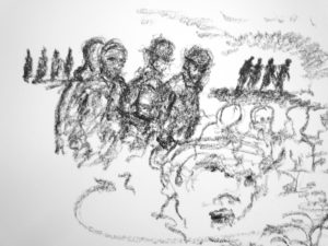 'And so they went on, the fourbottle men, the analists, unguam and nunguam and lunguam again, their Anschluss about her whosebefore and his whereafters and how she was lost away away in the fern…' FW p. 95.27 - 96.2 chinagraph drawing (detail)
