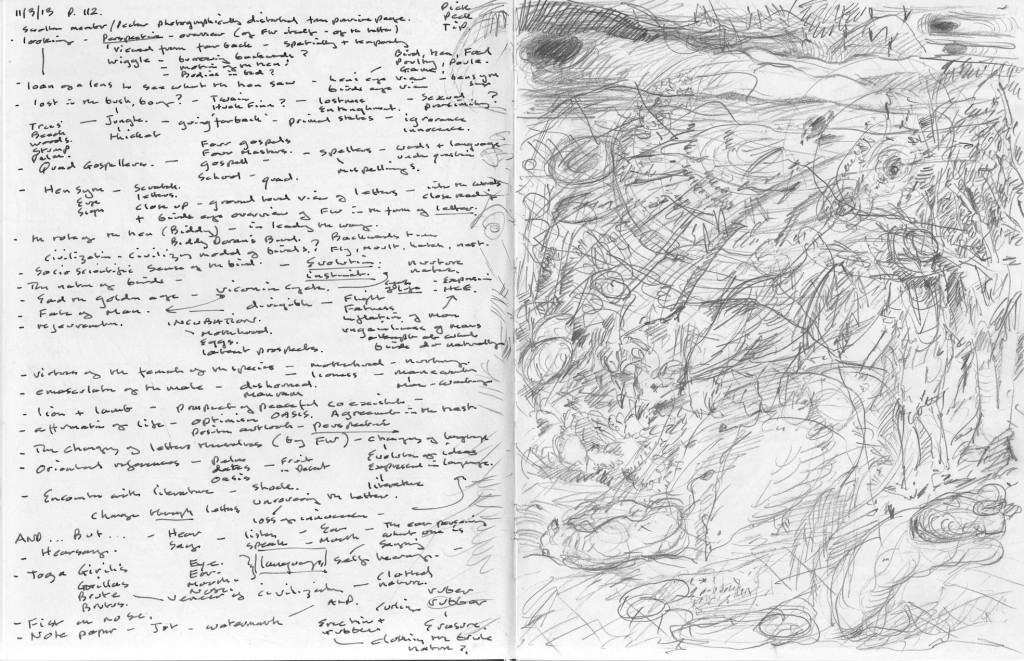 FW p.112, text to image annotation, sketchbook pages.