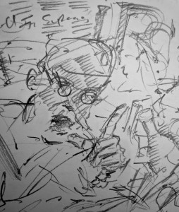 'And let us cease bringthecease to bickerings on that clink, olmond bottler!', FW p. 118 sketchbook (detail)