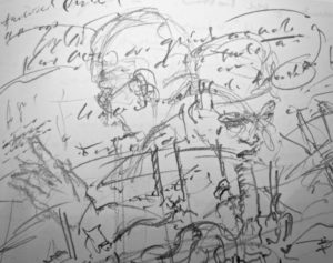 '…every word of a phrase so far deciphered out of it,…to vault back on our desultory horses…', FW p.118 sketchbook (detail)