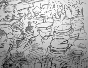 '…this red time of the white terror equals the old regime and Margaret is the social revolution while cakes mean the party funds…',FW p. 118 Sketchbook DetailFW p. 116 Sketchbook (detail)