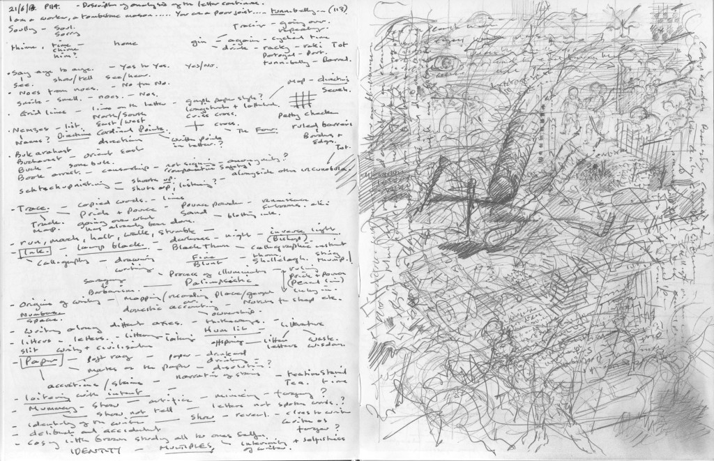 Finnegans Wake p.114 Text to image sketchbook notation