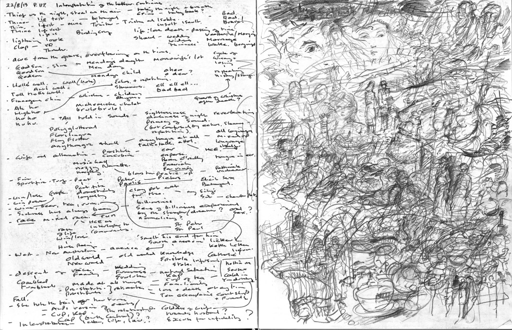 Finnegans Wake p.117 Text to image sketchbook notation