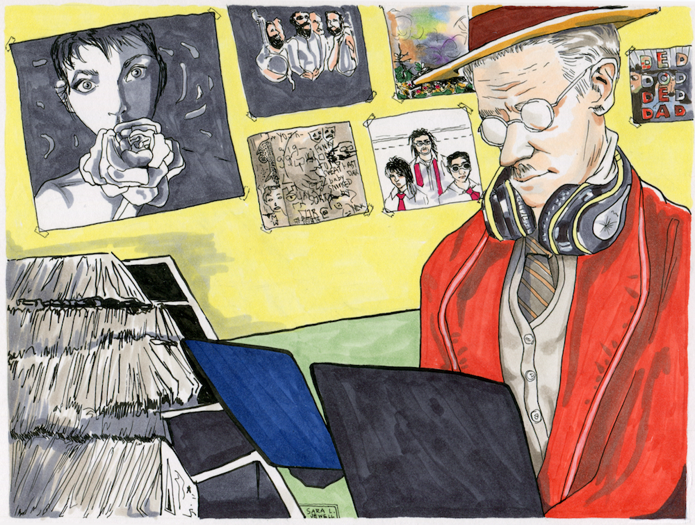 James Joyce listening to records by Sara Jewell