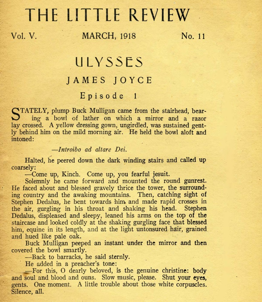 The First Sightings Of James Joyces Ulysses The James